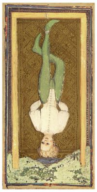 Visconti-Sforza_tarot_deck._The_Hanged_Man