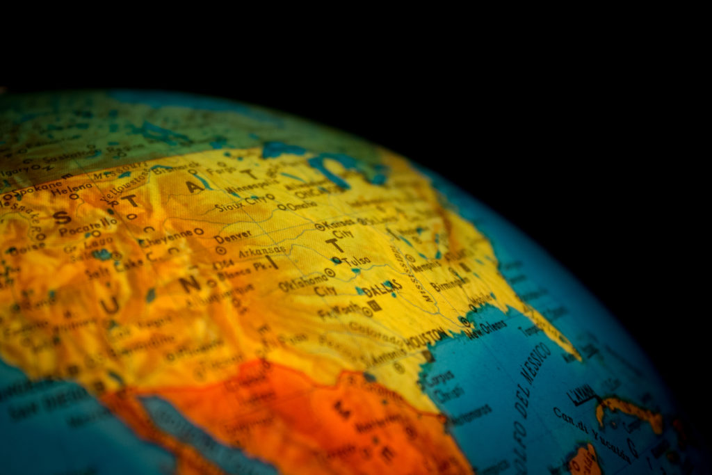 Globe depicting the landscape of different nations