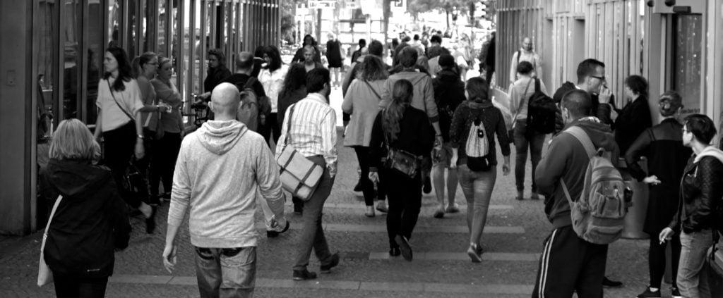 mass of people walking